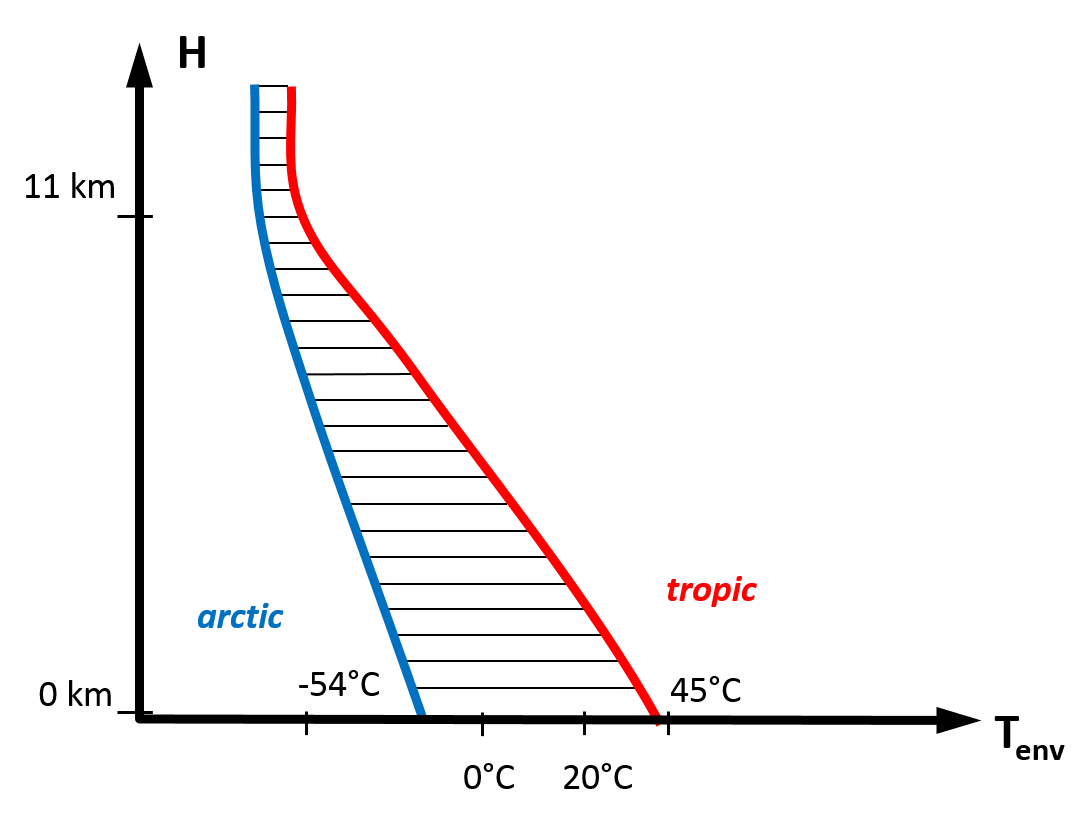 Diagram showing Typical Environmental Temperatures depending on Height above Sea Level