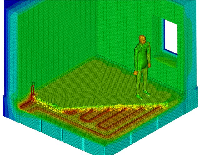 Image of Thermal Simulation Results of a Room with Underfloor Heating System