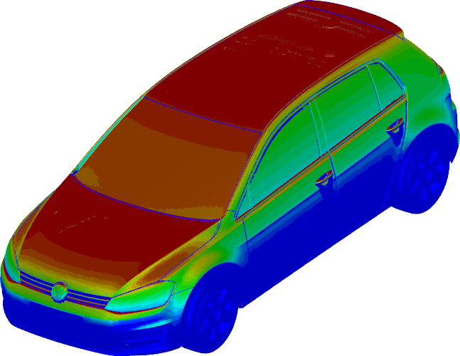 Image showing Thermal Radiation Results on Car Body after a Climate Chamber Simulation