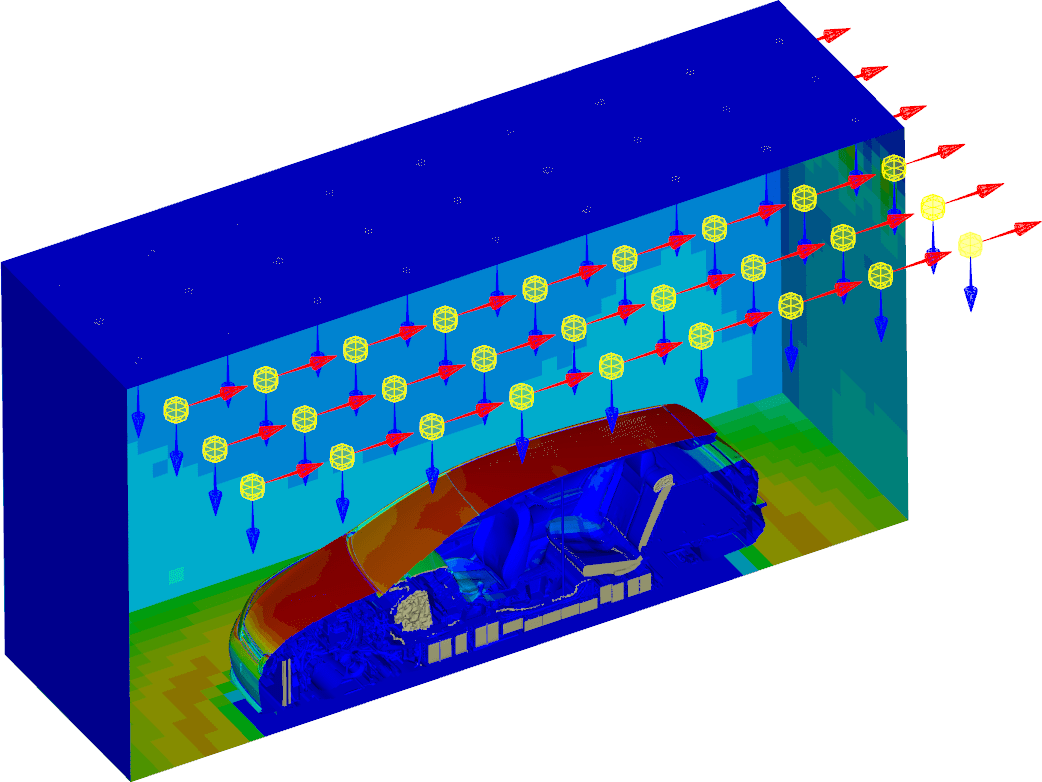 Image showing a Car Model Positioned in a Virtual Climate Chamber for Simulating Solar Loads