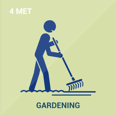 Schematic showing Metabolic Equivalent Level of Gardening