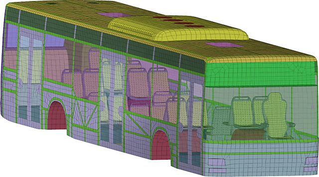Image of Finite Element Mesh of MAN Lion's City Bus as used for Simulation with THESEUS-FE