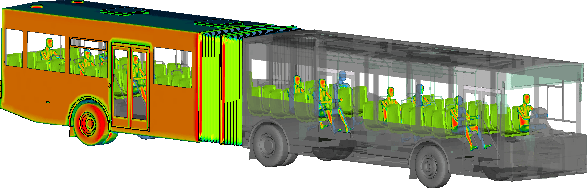 Image of Solar Radiation on City Bus with Passengers