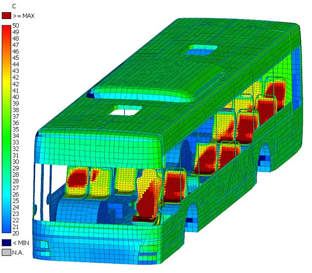 Image of Solar Radiation Results determined using THESEUS-FE on FEM model of MAN Lion's City Bus