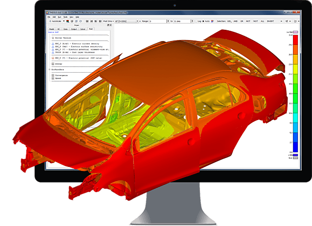 Image showing result of E-Coating Simulation with THESEUS-FE opened in GUI
