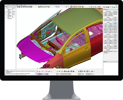 Finite Element Model of Car Body Opened in GUI for Preprocessing
