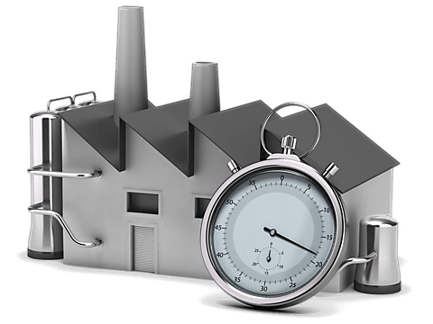Image showing Model of Factory and Stopwatch Symbolizing Optimization of Process Times