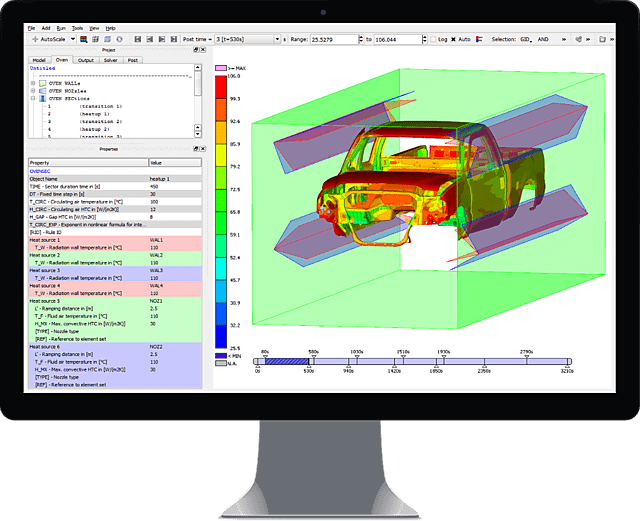 Image of Simulation Results of THESEUS-FE Paint-Drying Module opened in Graphical User-Interface