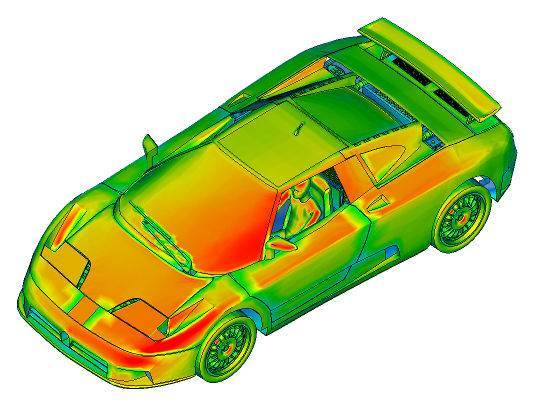 Image of Car showing Solar Radiation Result by Heat Transfer Solver