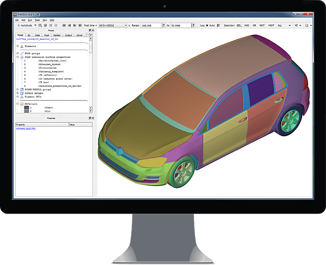 Image of Heat Transfer simulation model opened in THESEUS-FE GUI