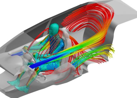 Image of Coupled Simulation with CFD Results and Thermal Results of Car Cabin including a Driver