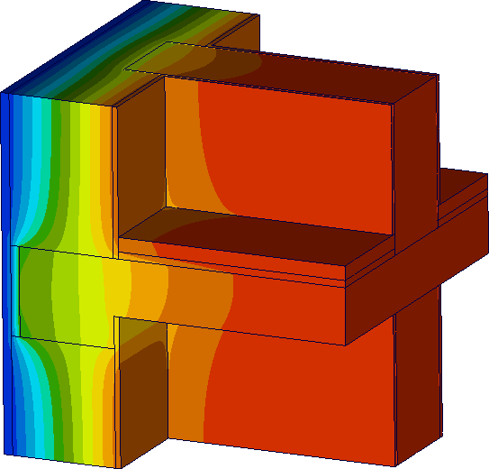 Image of Thermal Simulation Results for a Heat Bridge of Crossing Building Walls